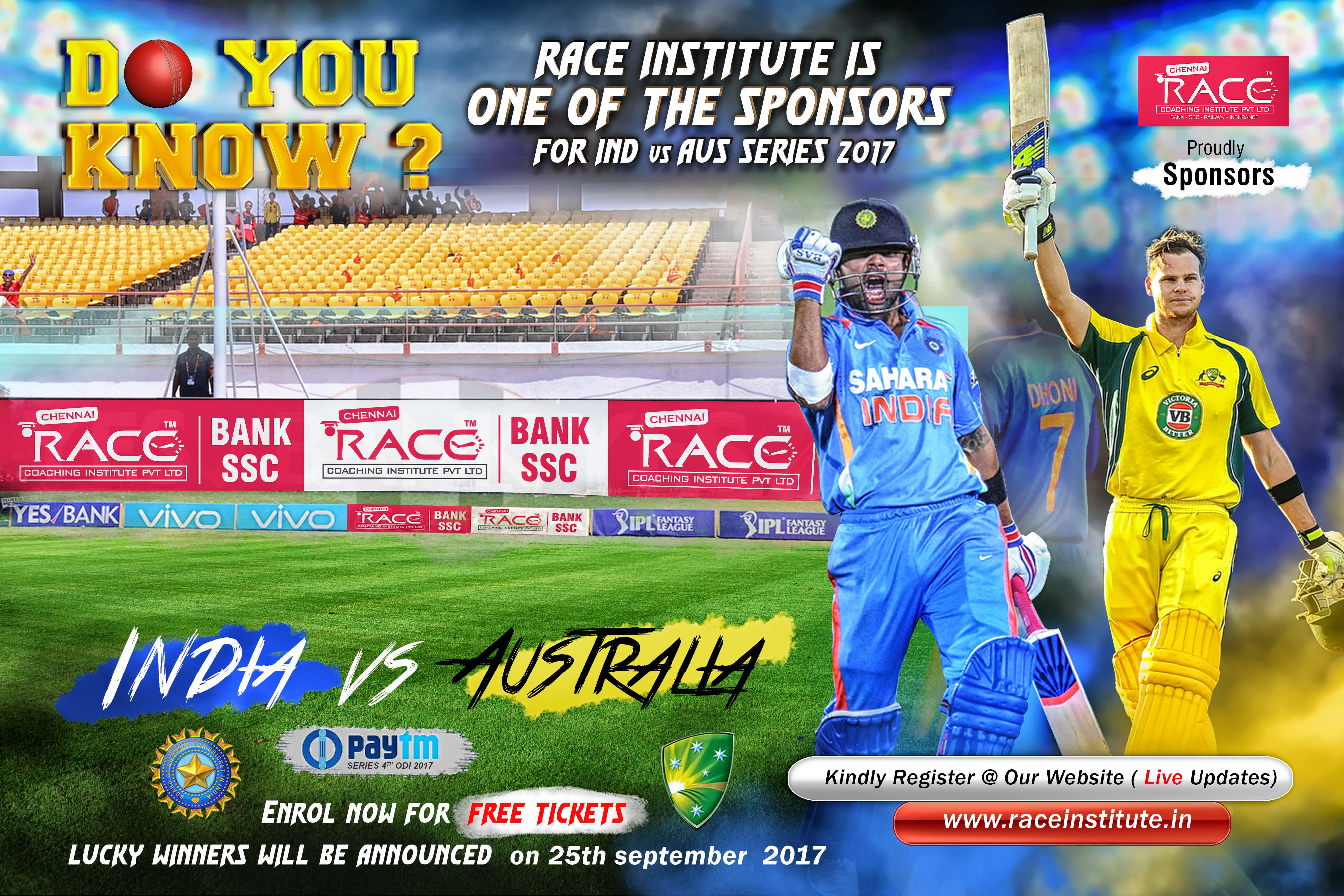 India Vs Australia Live Match 2017 - Chennai RACEINSTITUTE