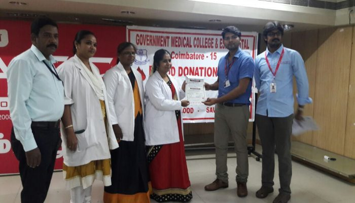 blood donation camp mat coimbatore race institute