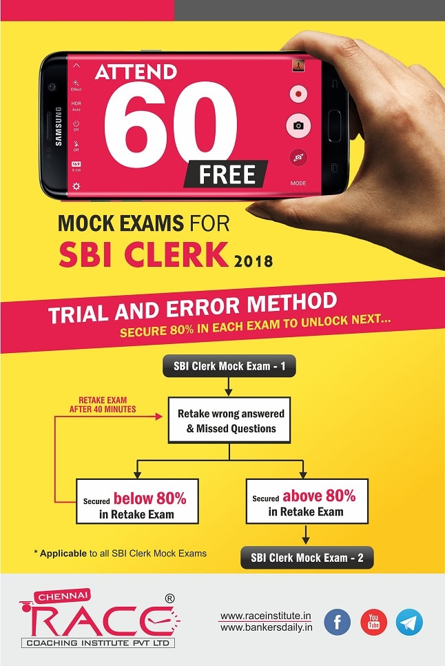 60 free SBI Clerk Online Mock Exams - trial and error method - fresh