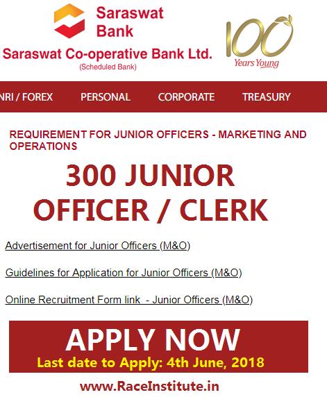 saraswat bank junior officer clerk 2018