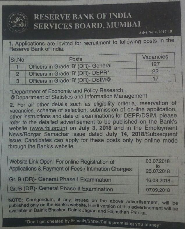 RBI-Grade-B officer notification - newspaper-cut-race institute