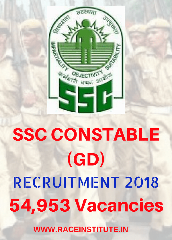 SSC CONSTABLE (GD) RECRUITMENT 2018 -54593 VACANCIES - RACE INSTITUTE