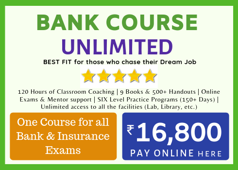BANK COACHING - BEST BANK EXAM COACHING FOR ALL BANK & INSURANCE EXAMS - PRACTICE TILL YOU GET BANK JOB -RACE BANK COACHING INSTITUTE