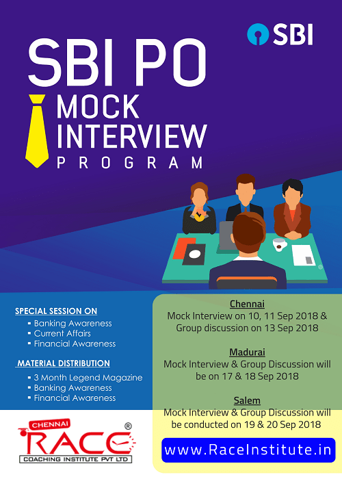 SBI PO 2018 - MOCK INTERVIEW PROGRAM IN RACE INSTITUTE - BEST SBI PO EXAM COACHING-min