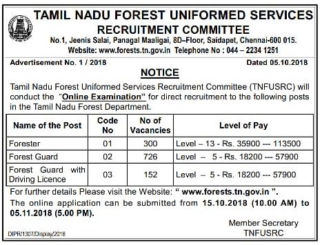 TNFUSRC Forester - Forest Guard Recruitment 2018 – 1178 Posts