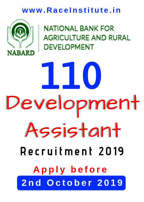 NABARD Development Assistant Recruitment 2019 – 110 Vacancies - BEST NABARD DEVELOPMENT ASSISTANT EXAM COACHING INSTITUTE IN INDIA - RACE BANK COACHING INSTITUTE
